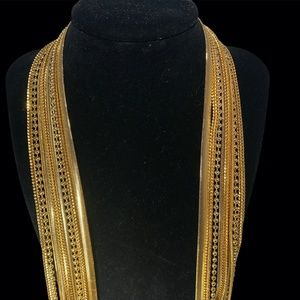 """9 MIXED CHAIN GOLD TONE 36.5"""" LONG NECKLACE"""